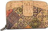 styleBREAKER Billetera de Corcho para Mujeres con Estampado de Coloridos Adornos étnicos, Cierre a presión, Cremallera, Cartera 02040146, Color:Beige-Púrpura-Verde