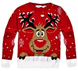Suéter de punto para niños, unisex, diseño navideño: Rudolph rojo 5 años