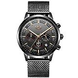 LIGE Relojes para Hombre Deportivos Cronógrafo Impermeable Relojes de Malla de Acero Inoxidable para Hombres Vestido de Negocios con Fase Lunar Reloj de Pulsera de Cuarzo analógico …