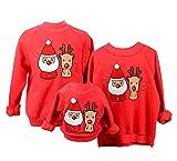 Sudaderas Navideñas Familiares Sudadera Navidad Hombre Mujer Niña Niño Jersey Suéter Navideño Sudadera Navideña Familia Reno Jerseys Navideños Parejas Cuello Redondo Ancha Larga Invierno Rojo 3-6 M