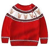 LPATTERN Jersey Suéter Sudaderas para Navidad Año Nuevo Prendas de Punto para Bebé Niños, Rojo Ciervo, 5-6 años