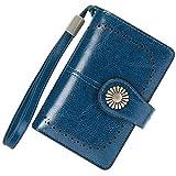 Cartera Mujer Mediana Bloqueo RFID Billeteras Mujer Piel Autentica con Cremallera, Gran Capacidad Billetera Monedero Mujer con Portafoto, Carteras Elegante Mujer con Correa Muñeca 13 Tarjetas (Azul)