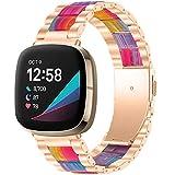 GIMart Compatible con Fitbit Versa 3 Correa/Fit Bit Sense Correa para mujeres y hombres, correa de repuesto de acero inoxidable de metal para Fitbit Versa 3 correas oro rosa plateado negro