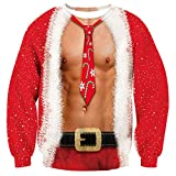 Freshhoodies Unisex 3D Hombre Cofre Impreso Feo Navidad Suéter Jumper Cuello Redondo Manga Larga Jersey Sweatshirt Sudaderas Sin Capucha XXL
