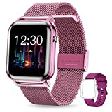 GOKOO Smartwatch Mujer Reloj Inteligente Fitness Deportivo IP68 Impermeable Pulsómetros Entrenamiento Respiratorio Monitor de Sueño Smart Watch Bluetooth Compatible con Android iOS (Púrpura)
