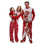 Pijamas Dos Piezas Familiares de Navidad, Conjuntos Navideños de Algodón para Mujeres Hombres Niño Bebé, Ropa para Dormir Otoño Invierno Sudadera Chándal Suéter de Navidad (Niño, 120)