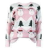 lijun Suéter de Manga Larga con Cuello Redondo para Mujer Árbol de Navidad Muñeco de Nieve Jersey cálido de Punto Tops
