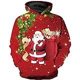 Suéter con Capucha Regalo de Santa Claus Suéter Rojo para niño y niña Suéter Informal con Tema navideño 5 tamaños, 115 cm-125 cm