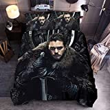 Juego de ropa de cama Yomoco, funda nórdica y dos fundas de almohada, microfibra, impresión digital 3D, juego de tres piezas de Tronos, Double 200x200cm