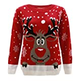 Generation FashionJersey para mujer, de punto, diseño con reno Rudolph, Navidad, tallas 44 - 58 rojo rosso Medium