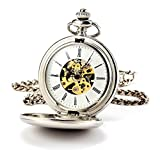 ManChDa® Hombres Steampunk Reloj de Bolsillo Plata Cazador de Doble Esfera Esqueleto con Cadena + Caja Regalo (1.Gold Movement)