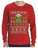 Camiseta de Manga Larga para Hombre - Jersey de Navidad Regalo Geek Reno Espacio Extraterrestres Small Rojo