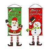 Idefair 2pac - Bandera de Tela de Feliz Navidad, Suministros de decoración de Porche de Puerta de Navidad, Adorno Colgante, Bandera de Papá Noel, para Colgar en la Pared, Puerta, Ventana