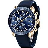 Relojes Hombre BENYAR Cronógrafo Analógico Cuarzo 3bar Impermeable Pulsera de Cuero Deporte Watch Business Casual Relojes de Pulsera Regalo Elegante (Dorado Azul)