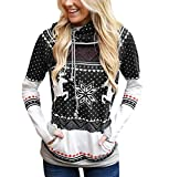 Sudadera Navidad con Capucha Mujer Sudaderas Navideñas Estampadas Jersey Navideño Sueter Reno Sweaters Pullover Hoodies Largas Chica Oversize Anchas Deporte Larga Invierno Personalizadas Negro 2XL
