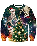 NEWISTAR Jersey de Navidad unisex 3D para hombre y mujer, tallas S-3XL Árbol de Navidad con gatos. XL