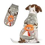 Dereine Jersey de Navidad para Mascotas,Suéter Navidad Mascotas,Jersey de Navidad Perro,Disfraz de Gato para Perro con Patrón de Reno,Invierno,Suéter para Perros Pequeños,Gato (Gris, Large)