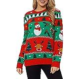 cffvdiz Suéter De Navidad para Mujer Árbol De Navidad Estampado De Muñeco De Nieve Suéter Casual Jersey De Punto,Red b,M