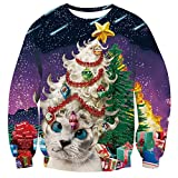 Freshhoodies Unisex Árbol De Navidad Jersey De Navidad 3D Gato Navidad Ropa Divertida Jerseys Traje De Navideño Christmas Jumper Tops Sweatshirt XXL