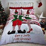 Tony's Textiles - Juego de Cama de Papá Noel - Fundas para el edredón y la Almohada - Elfo navideño - Matrimonio