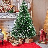 amzdeal Árbol de Navidad artificial – 180 cm Árbol de Navidad con nieve 800 puntas y piñas de abeto, montaje rápido, plegable, con soporte de metal para decoración navideña interior y exterior