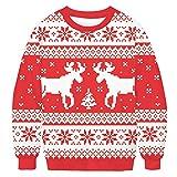 Sykooria Suéter de Navidad Hombre Cálido de Invierno Jersey Impreso Elegante Pullover Hombre de Reno de Punto de Manga Larga Sweaters de Navidad para Hombre